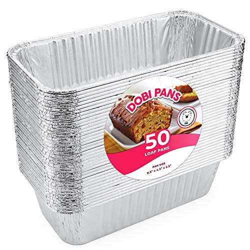 Loaf Pans for Bread (50 Pack) - Disposable Aluminum Foil 2Lb Bread Tins for Baking, Standard Size - 8.5