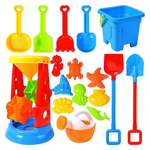 Orgrul Beach Sandspielzeug Kinder Spielzeug, Strandspielzeug Set Strand Spielzeug Sand Set, Sommer Badespielzeug Sandkasten-Eimer-Formen Spaten Harke Gießkanne Outdoor-Spielzeug (17 Teiliges, G)