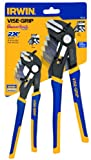 Irwin Tools 1802533 Two Piece GrooveLock 8-Inch V-Jaw and 10-Inch Straight Jaw Pliers Set
