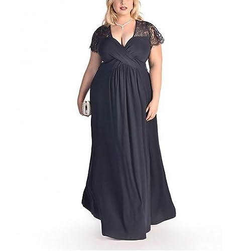 d22b502440215 Lover-Beauty Vestido Largo Mujer Talla Grande Moda Bolsillo Top Falda para  Fiesta Verano Manga