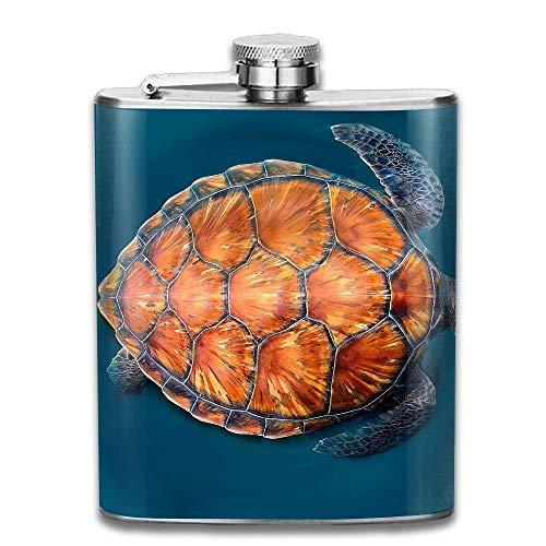 Presock-Flaschen für Alkohol, Edelstahl Flachmann 7 Unzen (kein Trichter) Kanarische Schildkröte voll bedruckt