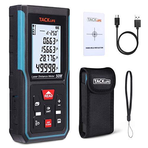 Telemetro Laser 50M, Misuratore di Distanza Laser Muto Ricaricabile, Sensore di Angolo Elettronico, LCD Retroilluminato, Pitagora, Distanza, Area, Volume, 99 Record, Ricalibrazione, TACKLIFE S5-50M