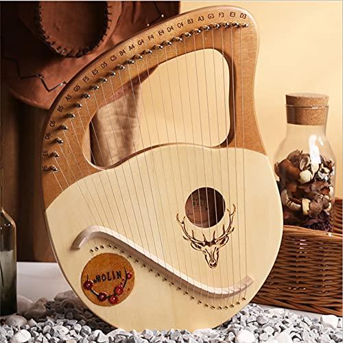 ライアーハープ 24弦 木製竪琴、マホガニーウッド 弦楽器 調律用ハンマー 収納バッグ スペアストリング付き、入門楽器 子供用 成人用