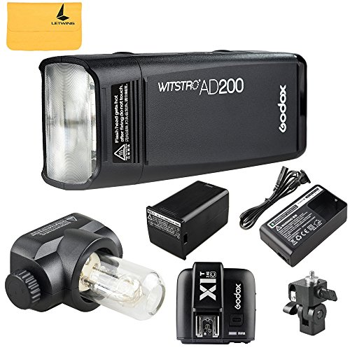 Godox AD200 200Ws 2.4G TTL Flash Strobe 1/8000 HSS zonder kabel Monolight met 2900mAh lithium batterij en flitskop + Godox X1T-C flitseractiveer voor Canon camera flitsapparaat voor 500 volledige prestaties en recycling in 0,01-2.1 Sec(AD200 + X1T-C)