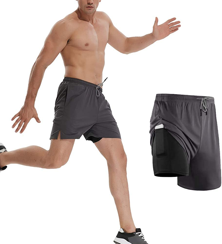 HOPLYNN Mens 2 in 1 Running Shorts Gym Workout Athletic Training Compression Underwear Liner with Zipper Pocket