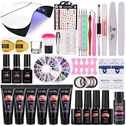 TopDirect 36W UV/LED Lámpara Uñas Gel Kit, 6Pcs extensión de uñas gel 15ml + 4 Pcs Esmalte Semipermanente Gel Uñas Soak off 8ml con Top y Base Coat Herramientos de Uñas Arte
