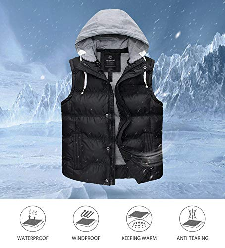 Wantdo Women's Water Resistant Quilted Warm Puffer Vest with Hood Black Large