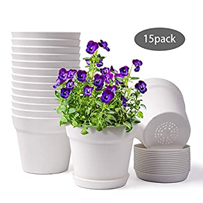 HOMENOTE Pots for Plants, 6 inch Plastic Planters with Multiple Drainage Holes and Tray - Pack of 15 Plant Pots for All Home Garden Flowers Succulents, Cream White