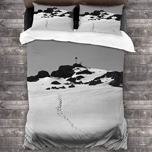 AIMILUX Duvet cover,Black And White Natural Landscape Art Picture,Mountains And Stones Covered By Heavy Snow In Winter,Comfortable and soft Microfibre quilt cover 200x200cm,2 Pillowcase 50X80cm