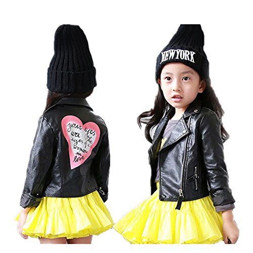 LJYH Girls Leather Motorcycle Jacket Children's PU Love Coat Black 7/8yrs (130)