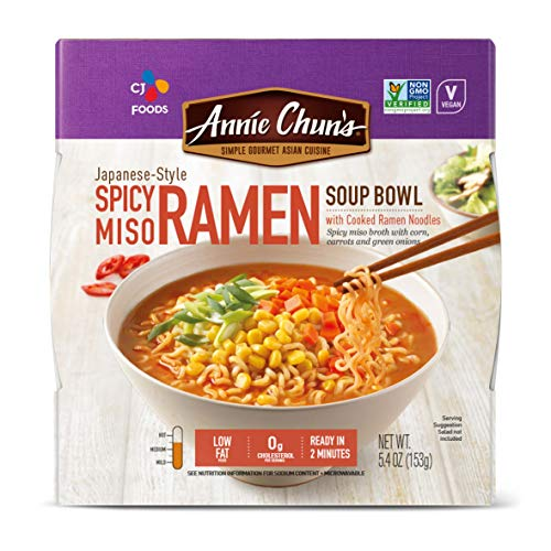Annie Chun's Spicy Miso Ramen Bowl With Cooked Ramen Noodles, Japanese-Style, Non-Gmo,...