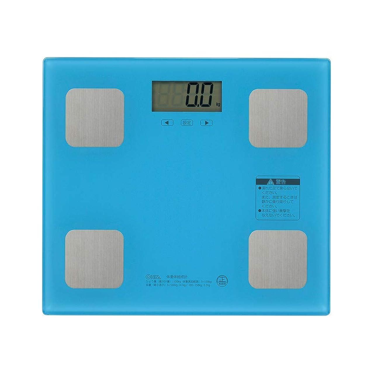 侵略階層アクション体重計 体組成計 体脂肪計 デジタル表示 電源自動ON/OFF 7項目測定 体重/体脂肪率/BMI/推定骨量/体内水分/体筋肉率/基礎代謝 ダイエット 健康管理 デジタル体重計 ブルー