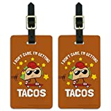 I Don't Care I'm Getting Tacos Funny Luggage ID Tags Cards Set of 2