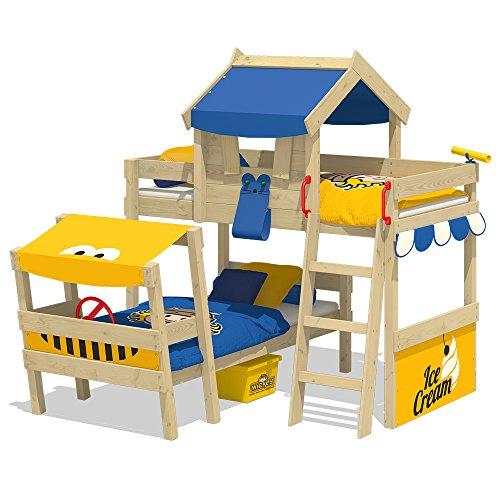 WICKEY Lit double CrAzY Trunky Lit mezzanine Lit enfant 90x200 pour 2 enfants design oblique avec sommier à lattes, bleu-jaune