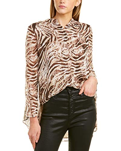 Elie Tahari Womens Chava Animal Print Textured Button-Down Top Brown S