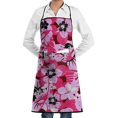 Lawenp Delantal de Flores de Cerezo con Bolsillos bloqueados para Cocina, Chef, Artista, Parrilla, Barbacoa, Tienda, horneado (20.5 x 28.3 Pulgadas)