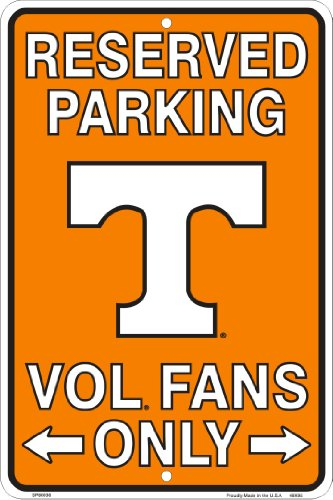 Tennessee Vols Fans Reserved Parking Sign Metal 8 x 12 embossed