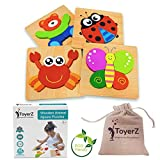 ToyerZ Wooden Peg Jigsaw Puzzles for Kids, Educational Toy for 1 2 3 Years old Boys & Girls Baby Infant , 4 Animal Shapes in an Eco Friendly Gift Box. Colourful STEM Montessori Toddlers toys Learning