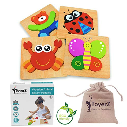 ToyerZ Wooden Toddler Puzzles, Educational Toy for 1 2 3 Years old Boys &...