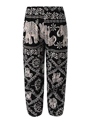 Yeahdor Kids Boys Girls Yoga Pants Baggy Boho Harem Pants Floral Print Hippie Bohemian Pants Casual Gypsy Pants Black Elephant 6