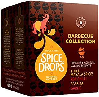 Holy Lama Barbecue Collection with Cumin Seed, Paprika, Red Chili, and Tikka Masala Spice Drops (4 bottles of 5 ml each)