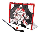 Bauer Street hockey Goal set con pipistrello, Ball & Shooter i esterno/interno porta da calcio con bersaglio i PVC telaio i hockey palline e dischetti i Street hockey training i Field hockey stick – rosso.