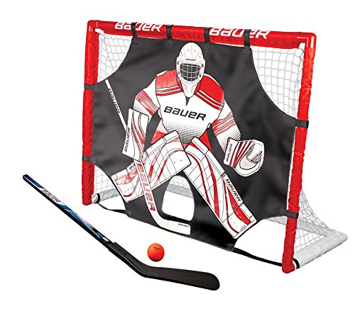 Bauer Street hockey Goal set con pipistrello, Ball & Shooter i esterno/interno porta da calcio con bersaglio i PVC telaio i hockey palline e dischetti i Street hockey training i Field hockey stick–rosso.