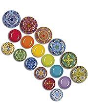 Excelsa Puebla - Vajilla de 18 piezas, porcelana, multicolor