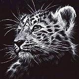 Lazodaer Kit de pintura de diamante 5D para adultos y niños, juego de brocas redondas completas, para decoración de la pared del hogar, leopardo melancolía, 30 x 30 cm
