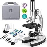TELMU Microscope 300X-600X-1200X avec 70 Pièces d'Accessoires, Bras et Base en Métaux et Mini Projecteur, Valise et Préparation fournies, Meilleur Cadeau pour Débutants et Enfants