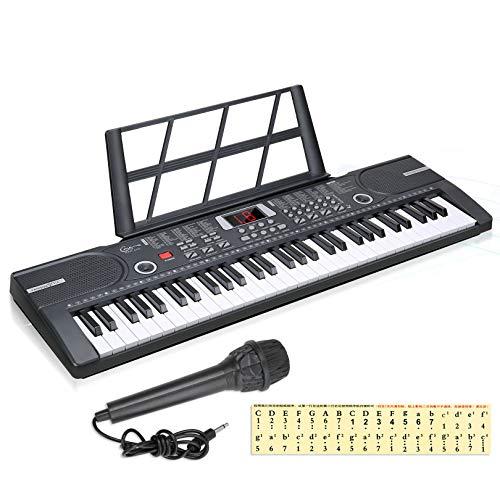 Teclados electrónicos para el hogar de 61 teclas con acompañamiento automático, teclado de piano digital portátil con soporte y micrófono, regalo para niños y niñas (negro)