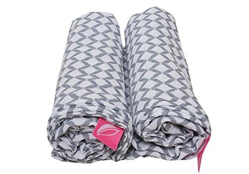 Set van 2 Swadddle & Burp Blanket Puckdeken Spuckdeken inslagdoeken van katoen mousselin 100x120 cm, 100% natuurzuiver katoen - Öko-Tex Standard 100, grijs met ruiten