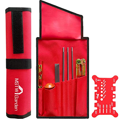 Chainsaw Sharpener, Chainsaw Sharpening kit (7/32, 3/16, and 5/32 Inch Chainsaw File, Flat File, Depth Gauge, File Guide, Quick Check Gauge, Cleaner, Handle, Pouch) Sharpening and Filing Chain saw