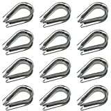 HEVERP 12PCS M10 Stainless Steel Thimble for 3/8 Inches Diameter Wire Rope/Cable