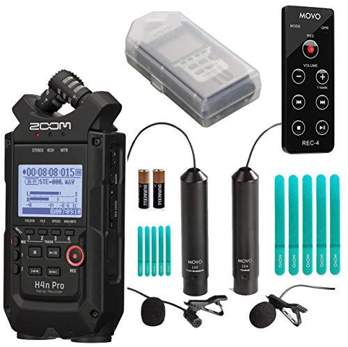 Zoom H4n PRO - Grabadora manual de 4 canales con micrófono Movo Omnidireccional y cardioide XLR Lavalier + mando a distancia (todo...