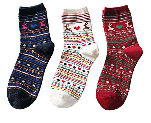 Women's Gift Casual Comfortable Cotton Crew Socks - 3 Pack