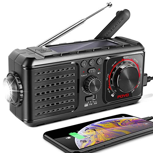 Emergency Radio, Solar Hand Crank Portable Radio by NICEAO, NOAA Weather Radio for Emergency with AM/FM/WB, Reading Lamp, Household and Outdoor SOS Alarm and Help Flashing Lights, 2200mAh Power Bank