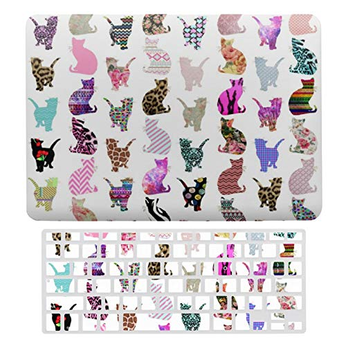 MacBook Air 13 Inch Case(A1369 & A1466, Older Version 2010-2017 Release), Plastic Hard Protective Laptop Case Shell with Keyboard Cover, Girly Whimsical Cats Aztec Floral Stripes Pattern