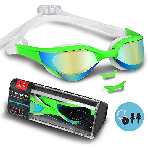 Gafas de Natación, Gafas Nadar con Libre Clip de Nariz Enchufe Deoído Anti Niebla Anti UV Lente Estuche de Almacenamiento Correa de Silicona Ajustable para Adulto Hombres Mujeres Jóvenes Niños (Verde)