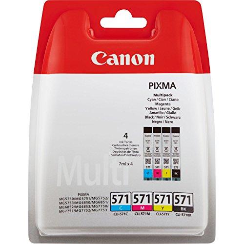 Canon CLI-571 4 Cartuchos de tinta BK/C/M/Y para Impresora de Inyeccion Pixma TS5050,5055,5053,5051,6050,6051,8050,8053,8052,8051,9055,9050MG5750,5751,5752,5753,6850,6851,6852,6853,7750,7751,7752,7753