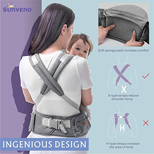 SUNVENO Baby Hipseat Ergonomic Baby Carrier Soft Cotton 6 in 1 Safety Infant Newborn Hip Seat for Outdoor Travel 3-36 Months (Gray)