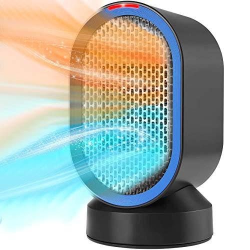 Brigros - Termoventilatore Elettrico Ceramica 600W, Riscaldatore Stufa Portatile Oscillazione Automatica per Piccoli Spazi, Casa, Ufficio