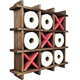 Excello Global Products Rustic Wooden Toilet Paper Holder: Tic Tac Toe Design for Wall Mounted or Freestanding Bathroom Tissue Roll Storage Organizer