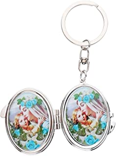 Toygogo Portable Folding Oval Shaped Pocket Compact Makeup Mirror Key Ring - Random