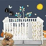 Little Grape Land Baby Bear Crib Bedding Set - 4 Piece Nursery Set for Boys or Girls - Includes Crib Sheet, Quilted Blanket, Crib Skirt, Pillowcase - Woodland Bear Theme in Grey, Beige, Brown