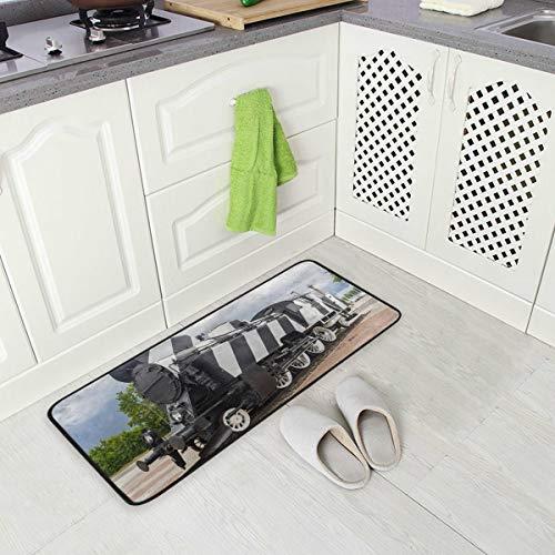 SENNSEE Retro Eisenbahn Küchenteppiche Indoor Outdoor rutschfeste Küche Bodenmatten für Zuhause 99,1 x 50,8 cm Komfort Polyestergewebe
