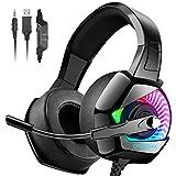 ONIKUMA Auriculares Gaming -Cascos PS4 con Micrófono, Sonido Envolvente Luz Azul Cascos Xbox One Auriculares PC con Cancelación de Ruido