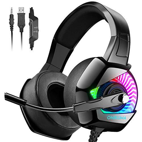 ONIKUMA Cuffia di gioco -Cuffie PS4 Cuffia Xbox One con Microfono, Cuffie Gaming con Audio Surround 7.1 Cuffie per PC con Eliminazione del Rumore per PS4 / PC / Mac / Xbox One (adattatore non incluso)