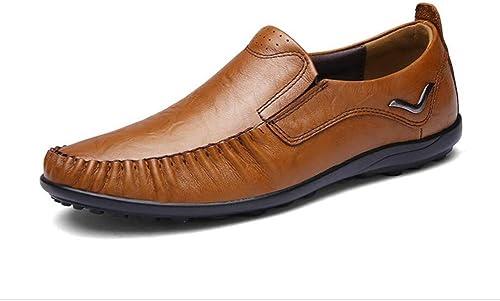 YUAN Mocassins tout-aller décontractés pour hommes Chaussures à bout rond Pieds cousus à la main Slip-One Chaussures de conduite lazy paresseuses Chaussures à pois Slip-Resistant Robe