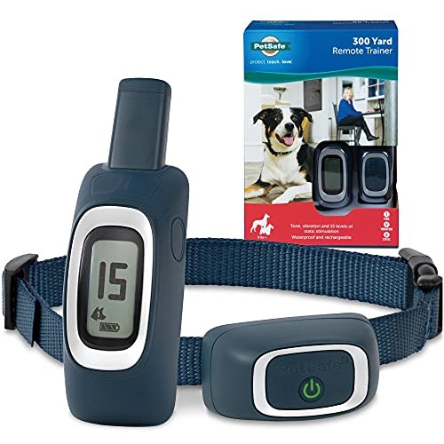 PetSafe 300 Yard Remote Training Collar – Choose from Tone, Vibration, or 15 Levels of Static Stimulation – Medium Range Option for Training Off Leash Dogs – Waterproof and Durable – Rechargeable